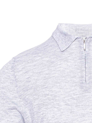 Fine Gauge Polo - Heather Grey