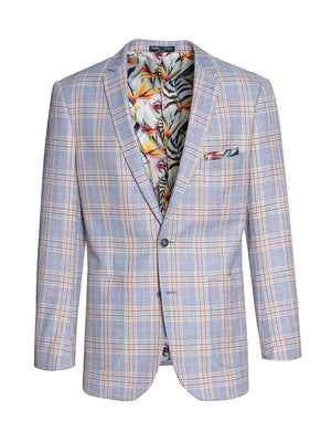 Dover Notch Jacket - Slim - Grey Yellow Plaid