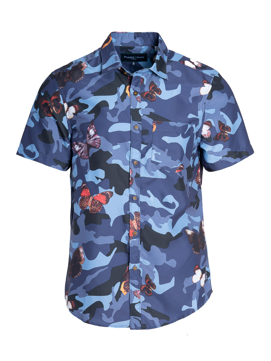 Swim Shirt - Navy Butterfly Camo