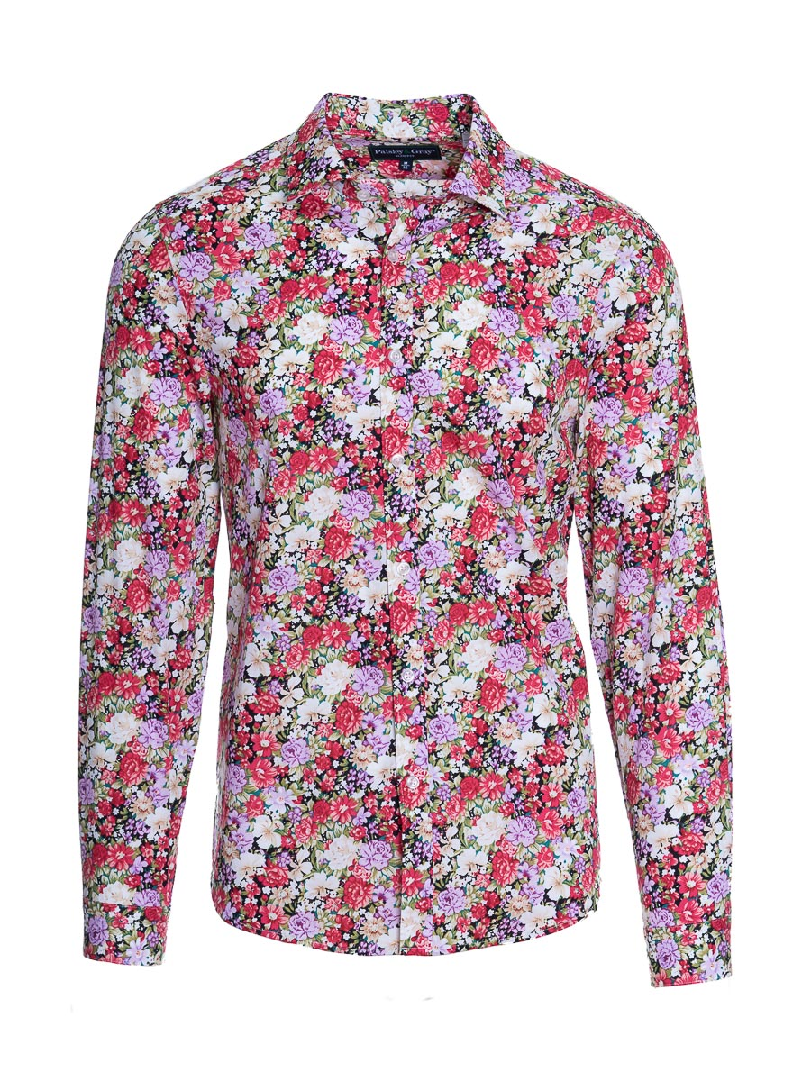 Spread Collar Shirt - Slim - Wild Roses