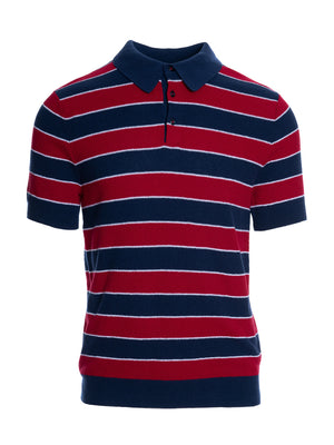 Variegated Stripe Polo - Navy Red White