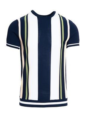 Retro Stripe Crew - Navy Cream Green Multi