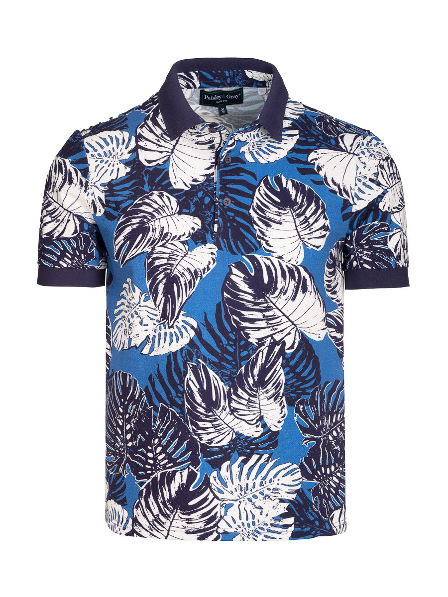 Short Sleeve Printed Polo - Blue White Floral