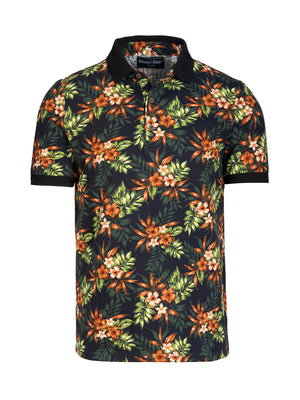 Short Sleeve Printed Pique Polo - Brown Floral
