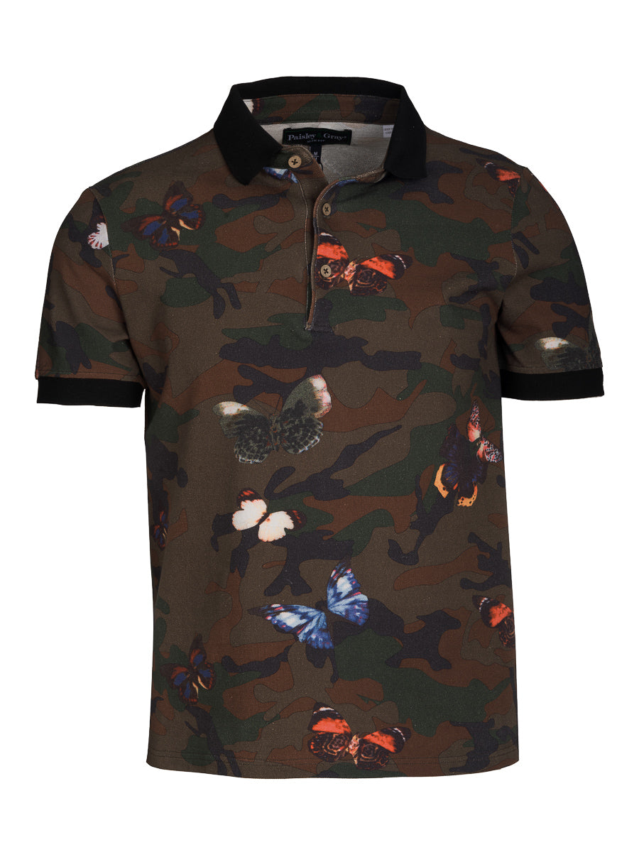 Short Sleeve Printed Pique Polo - Army Butterfly Camo