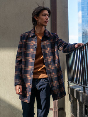 Topper Coat - Pumpkin Navy Plaid