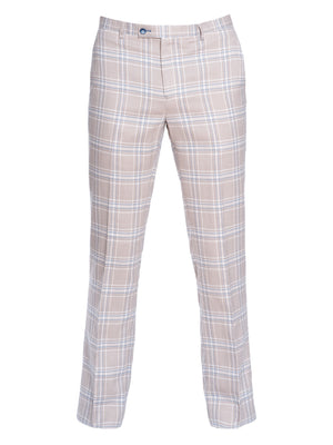 Downing Pants - Slim - Tan Teal Plaid