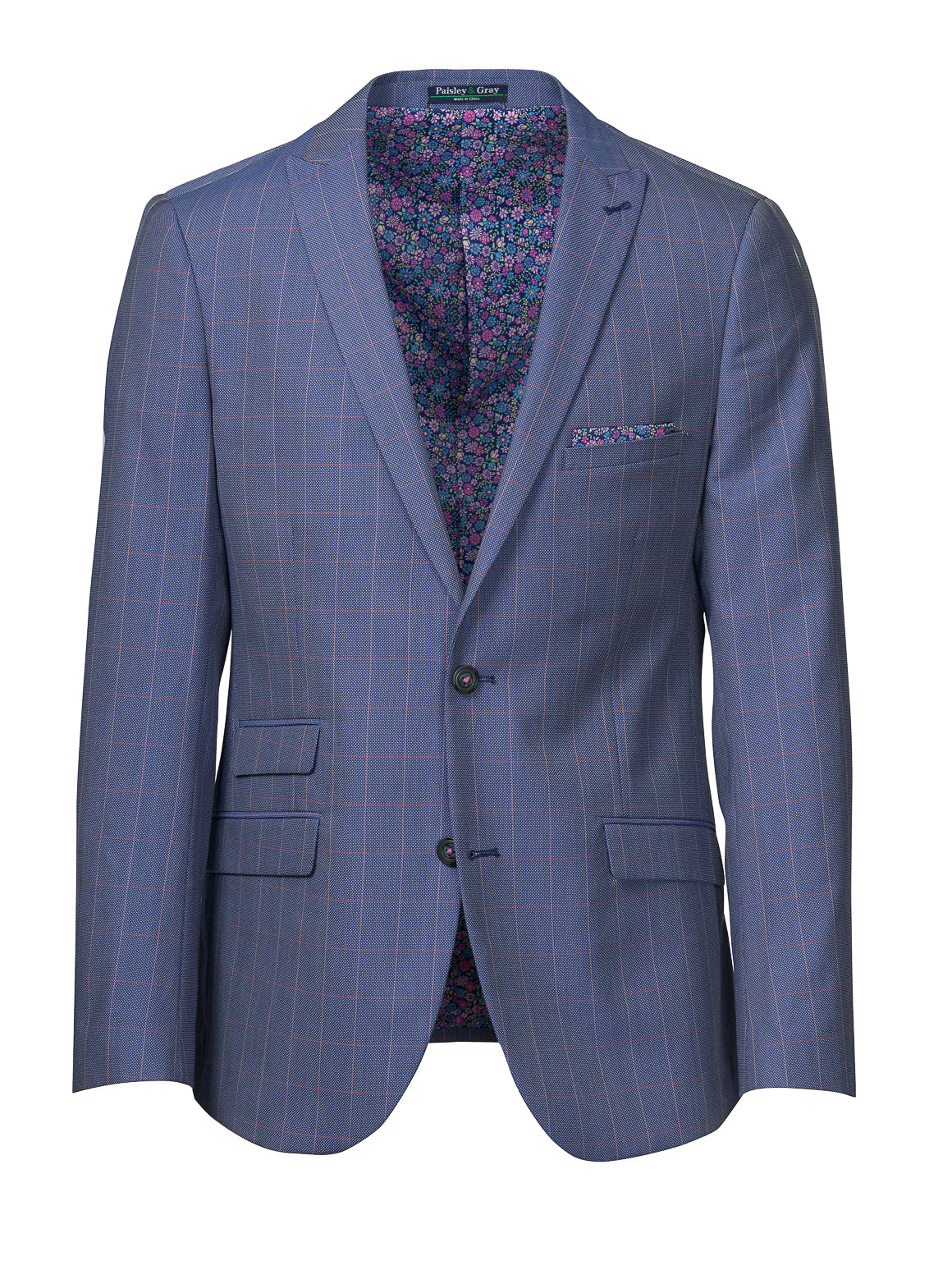Ashton Peak Jacket - Slim - Blue & Pink Grid