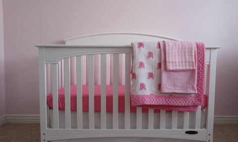 74b39804462e6 Embroidered Minky Elephant Baby Crib Bedding Set for GIRLS – MY BABY ...