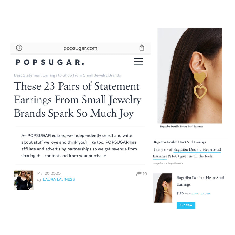Blog - DOUBLE HEART EARRINGS ON POPSUGAR