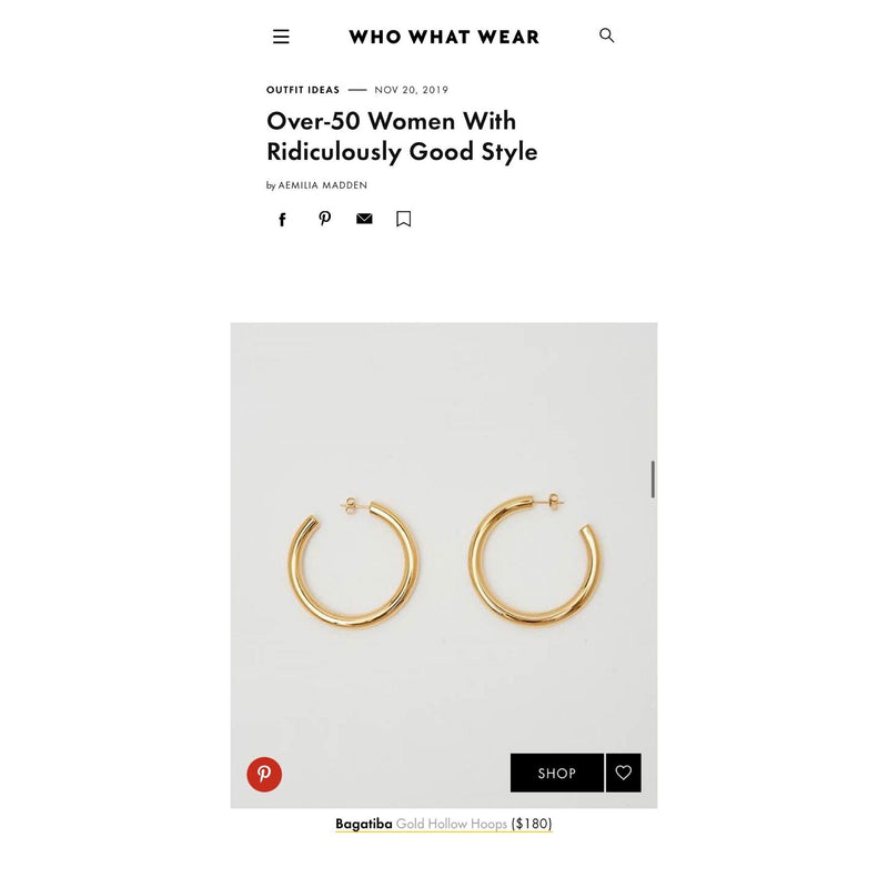 Blog - GOLD HOLLOW HOOPS ON WHO WHAT WEAR