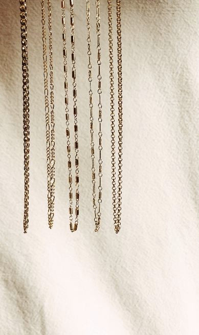 Cropped view of 111 Choker shown with other choker chain styles Bagatiba