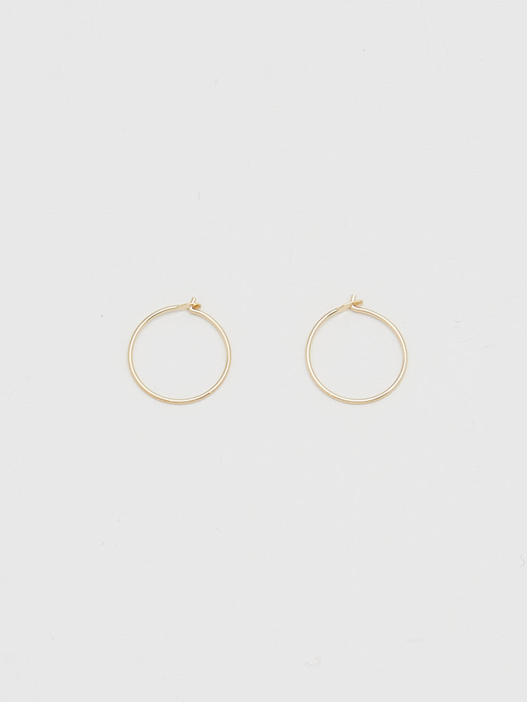 Close view flat lay 14K 301 Mini Hoops Earrings Bagatiba
