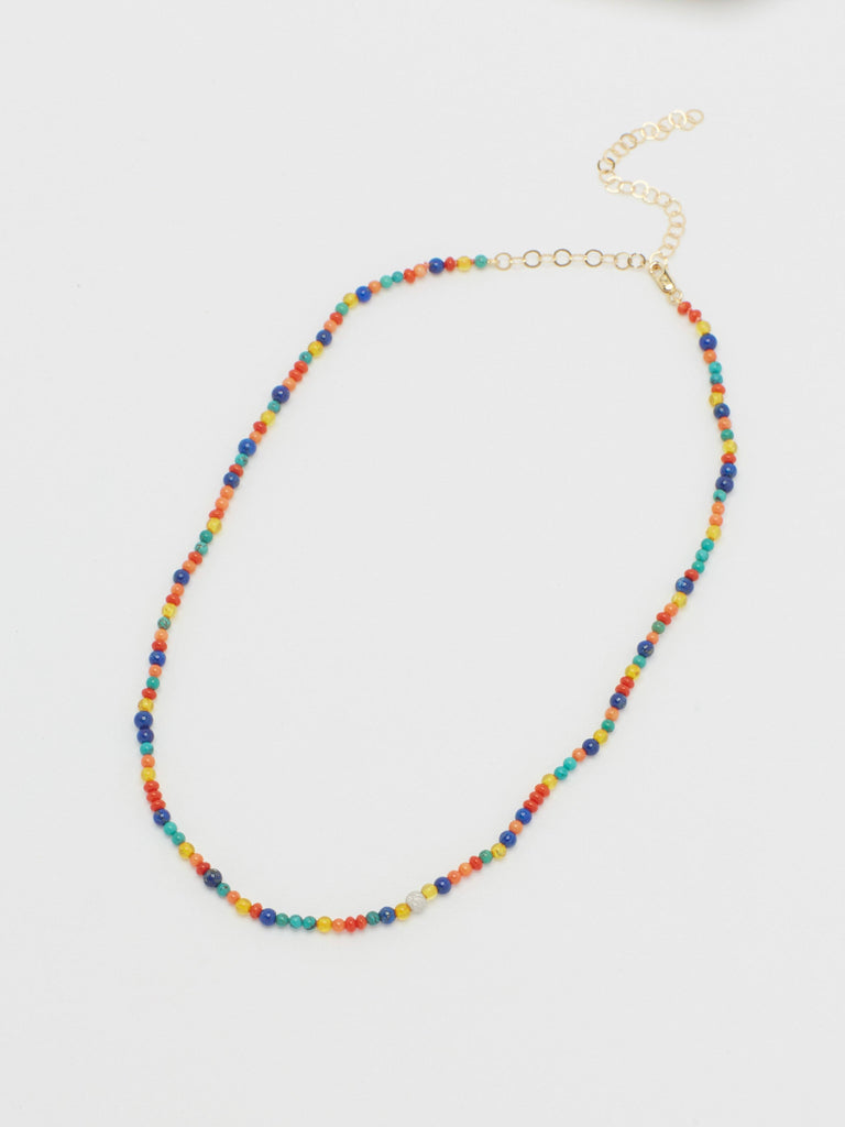 14K Diamond Multi-Bead Necklace