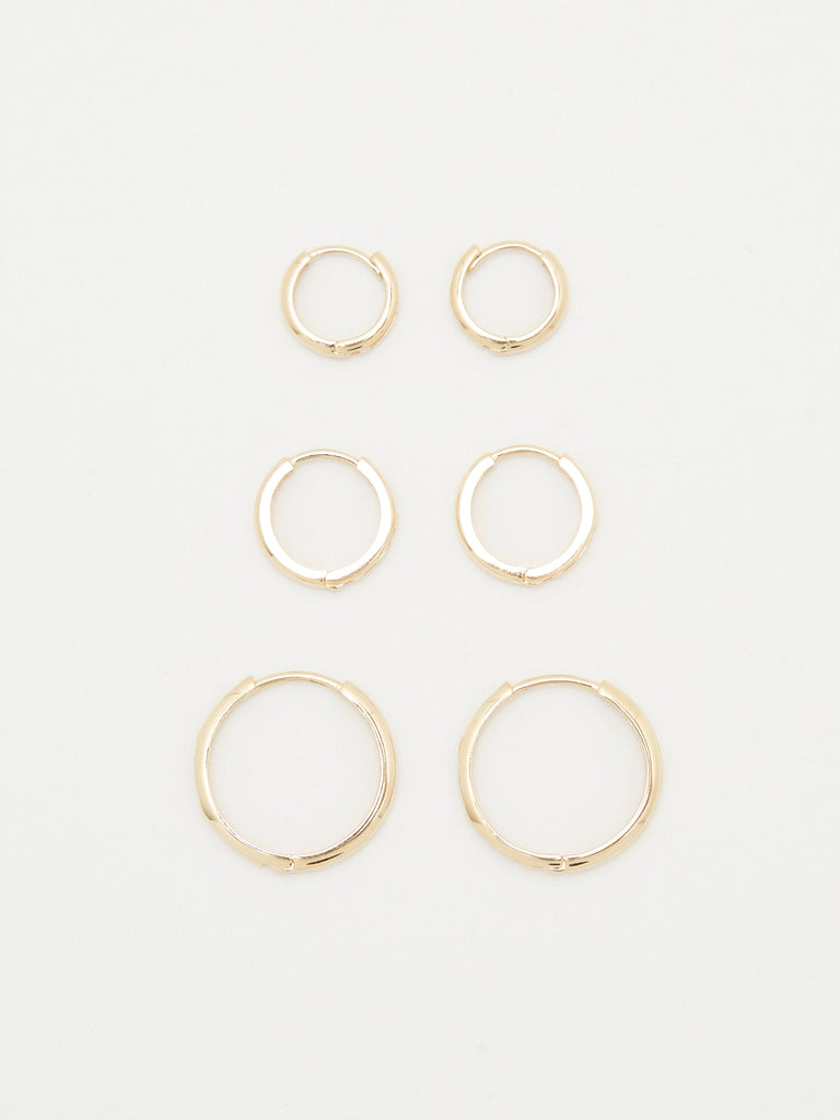 14K Medium Huggie Hoops Earrings Bagatiba