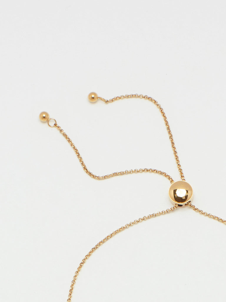 Detail flat lay of clasp on Adjustable Gold Tab Necklace Necklace bagatiba