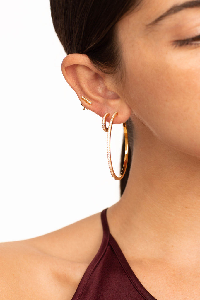 Cropped view of model wearing Diamond Bar Studs, small & large diamond hoops  Earrings Bagatiba