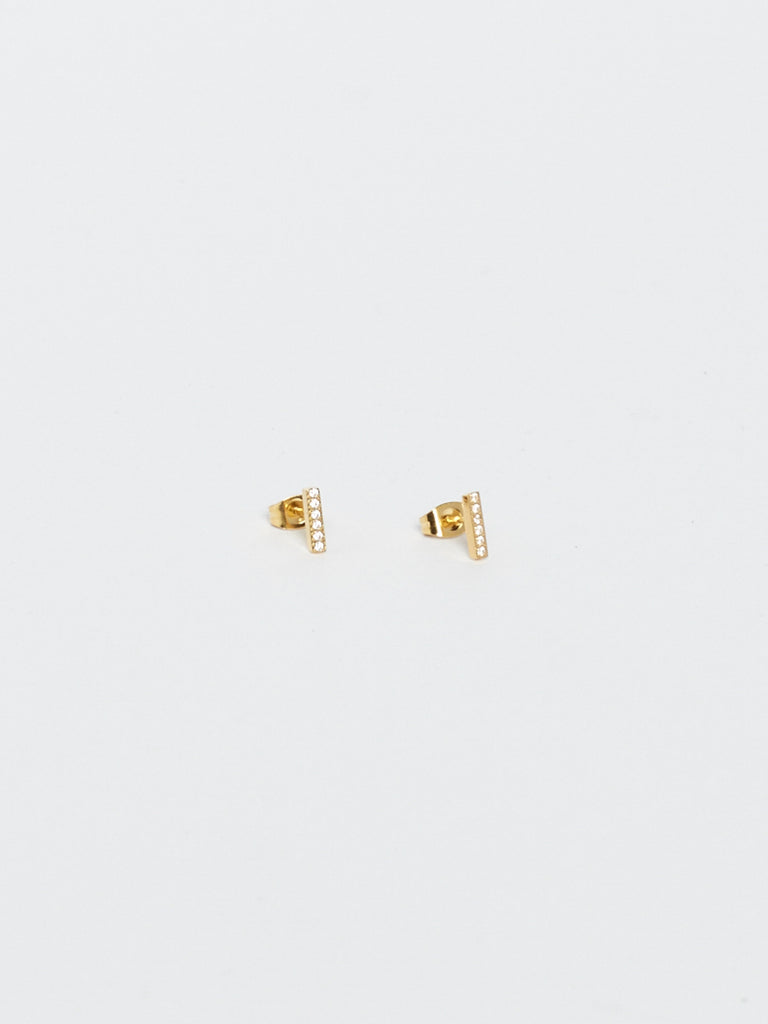 Full view flat lay of Diamond Bar Studs Earrings Bagatiba