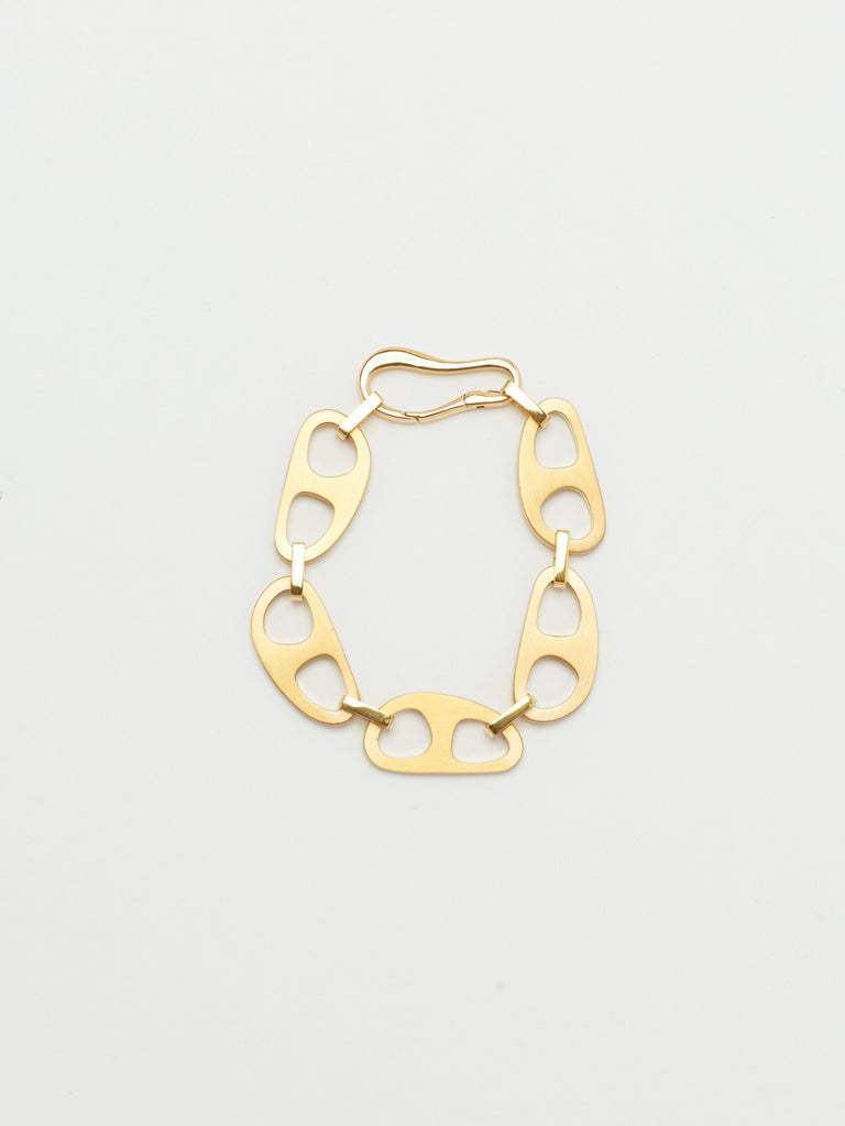 Full view flat lay of Gold Brushed Tab Bracelet Bracelet bagatiba