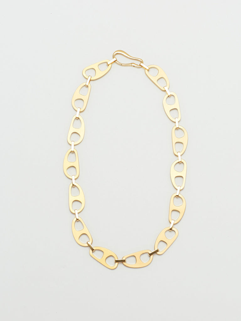 full view flat lay of Gold Brushed Tab Necklace Necklace bagatiba