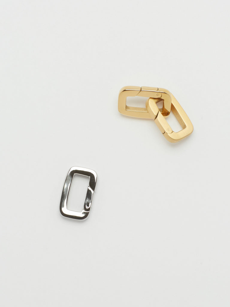 Full view flat lay of 2 Gold Cara Clips linked & 1 Silver Cara Clip Bagatiba