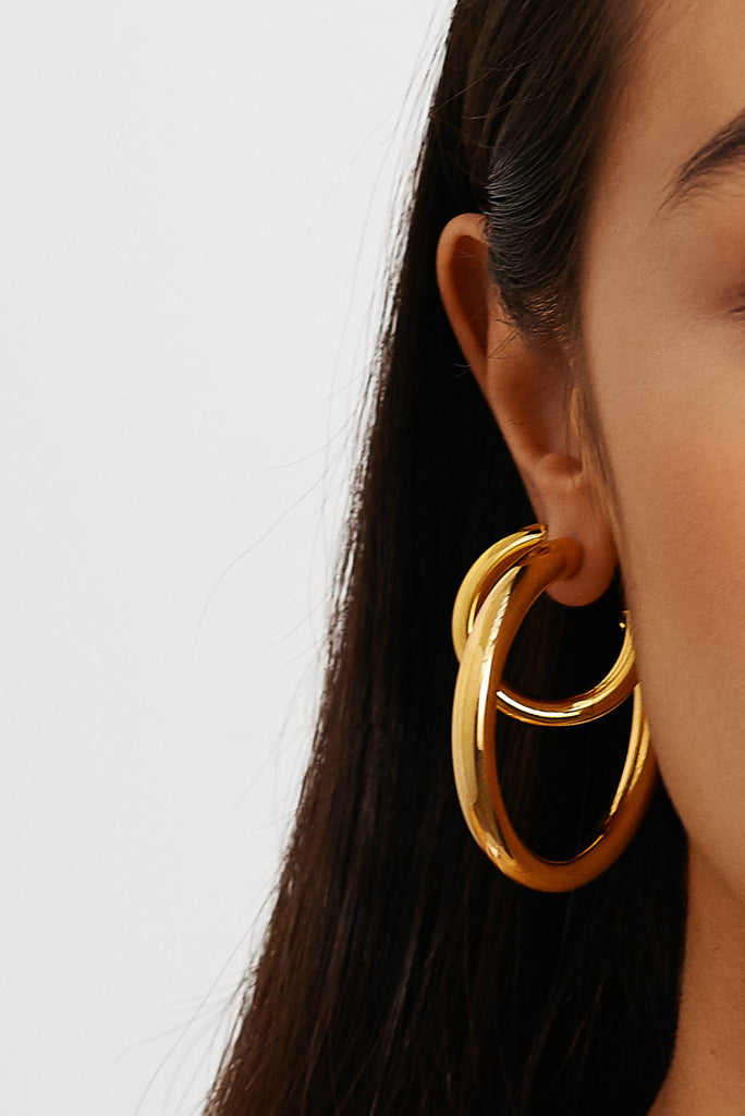 Detail view on model of Gold Hollow Hoops Earrings Bagatiba