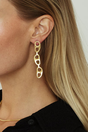 Gold Tab Drop Earrings