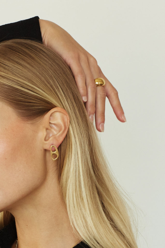 Gold Tab Studs Earrings bagatiba