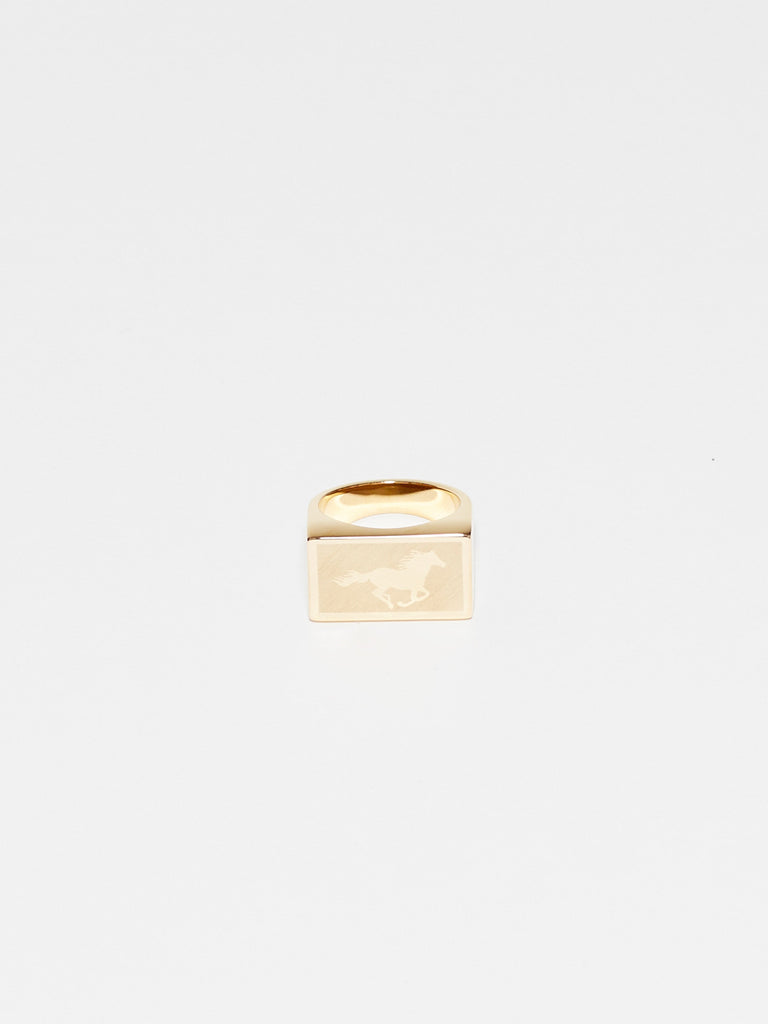 Front view flat lay of Horse Signet Ring charm Bagatiba