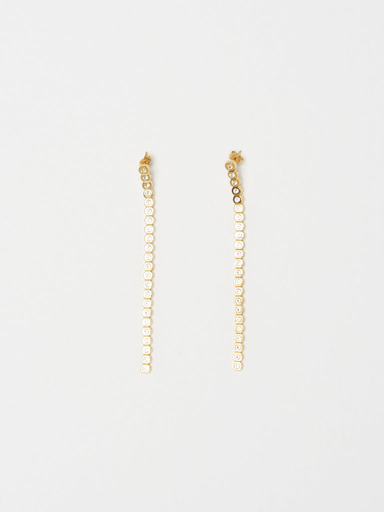 Front view flat lay of Mika Diamond Line Earrings Earrings bagatiba