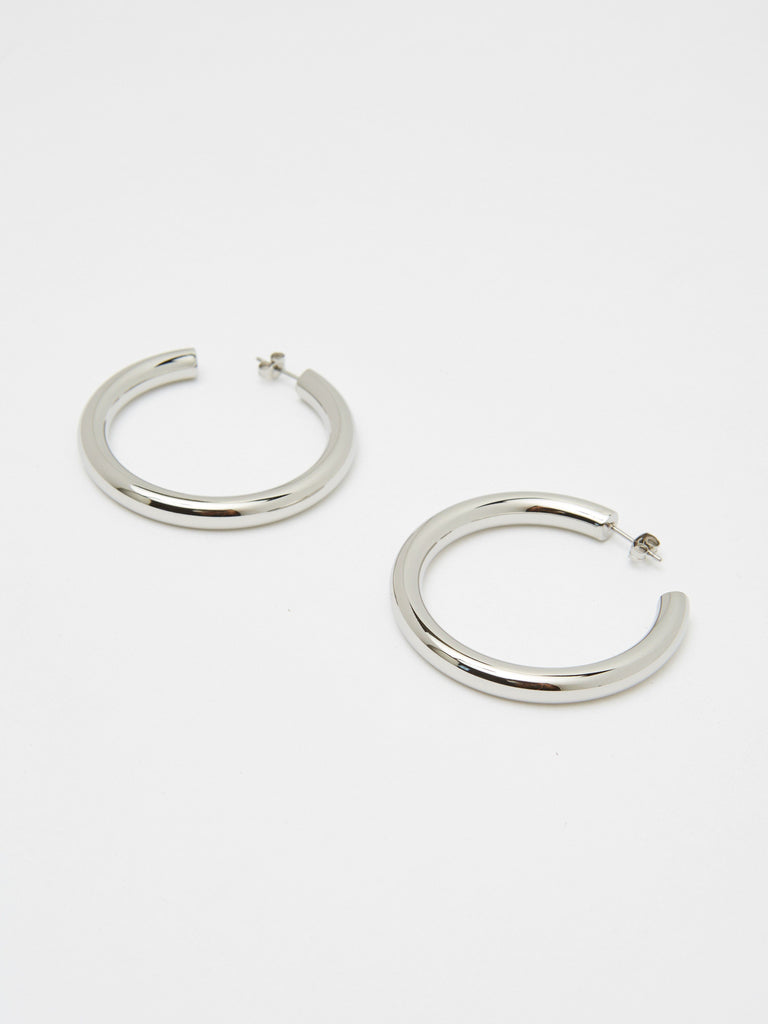 Silver Hollow Hoops