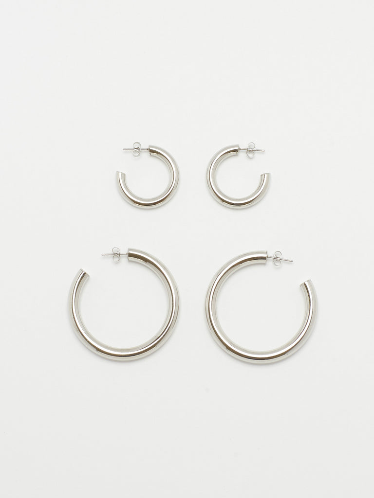 Silver Hollow Hoops Earrings Bagatiba