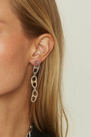 Silver Tab Drop Earrings