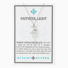 Faithful Light Three Cross Necklace- Silver - Inspired Style Boutique