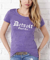 Classic Ladies Tri-Blend Crew Distressed Logo - Detroit Surf Co. - 3