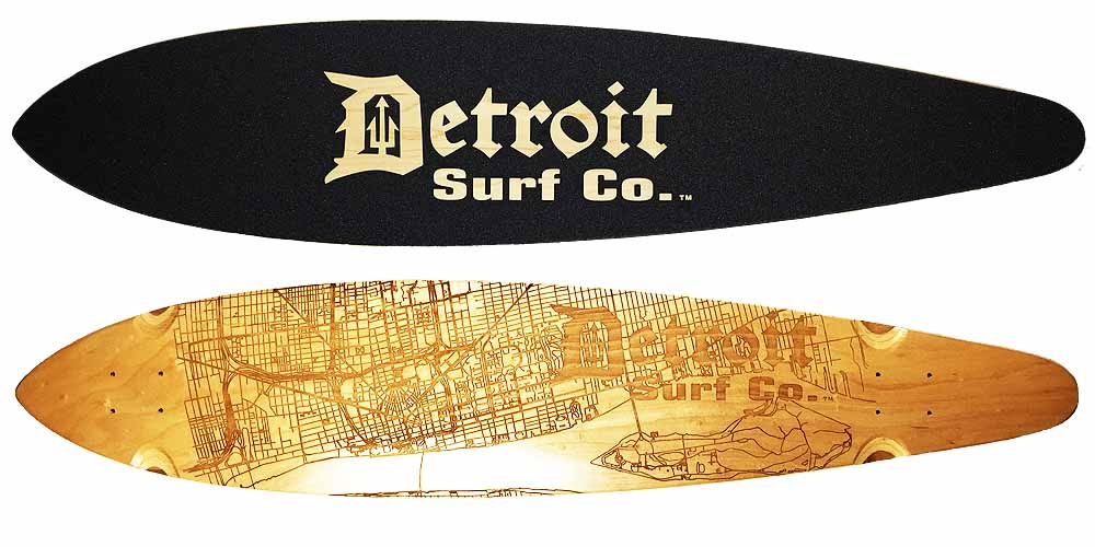 Detroit Street Map Pintail Longboard Deck (Deck Only)