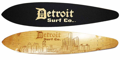 Detroit City Skyline Pintail Longboard Deck (Deck Only)