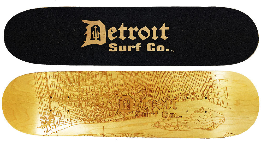 Detroit Street Map Skateboard Deck (Deck Only) - Detroit Surf Co.