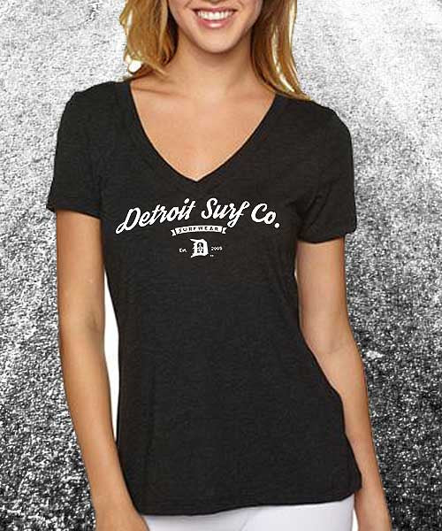 Ladies Tri-Blend V Neck Surf Wear Logo - Detroit Surf Co. - 1