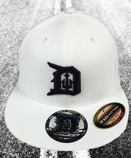 Fitted Trident D Cap White - Detroit Surf Co.