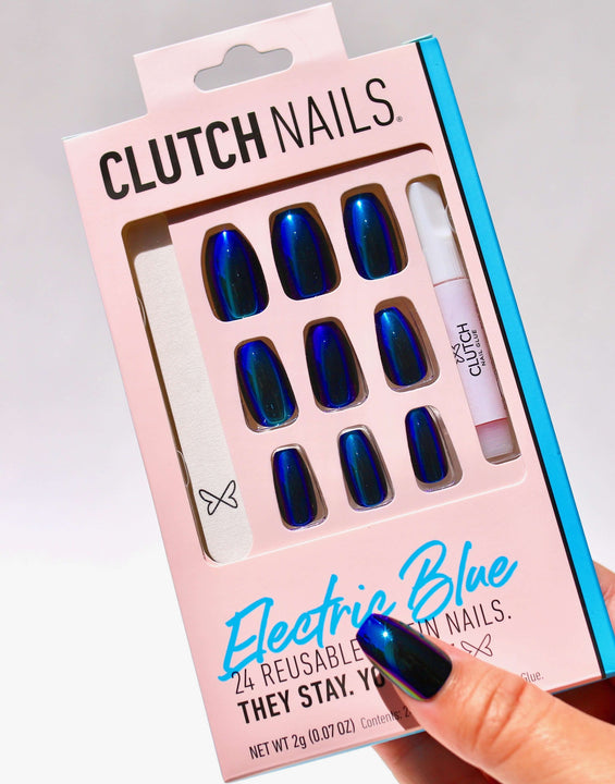 Electric Blue | Press On Nails | Coffin Blue Chrome Nails