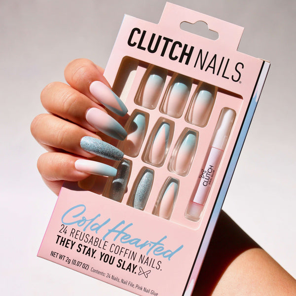 Clutch Nails | Cold Hearted | Press On Glue Nails | Coffin Ombre Nails