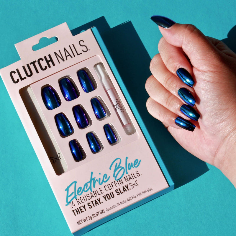 Clutch Nails | Electric Blue | Press On Glue Nails | Blue Chrome Coffin Nails