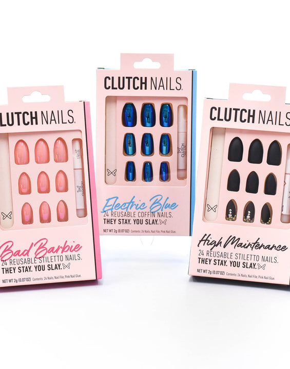 Clutch Nails | Life of the Party Bundle | Press On Glue Nails | Three Glam Nail Sets