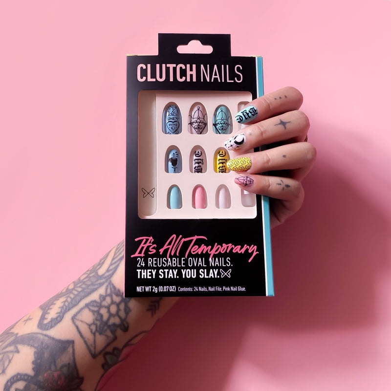 Ready to Glare | It's All Temporary | Press On Nails | Oval Tattoo Nails