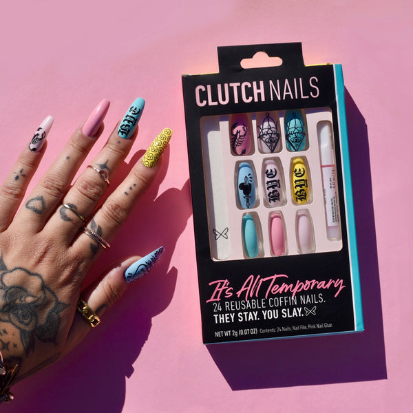 Ready to Glare x Clutch Nails | It's All Temporary | Extra Long Coffin Nails