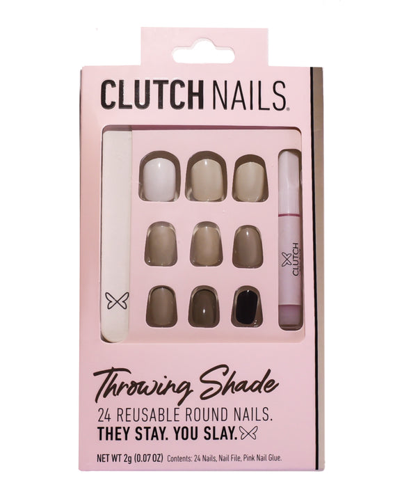 Clutch Nails | Throwing Shade | Press On Glue Nails | Neutral Toned Round Nails
