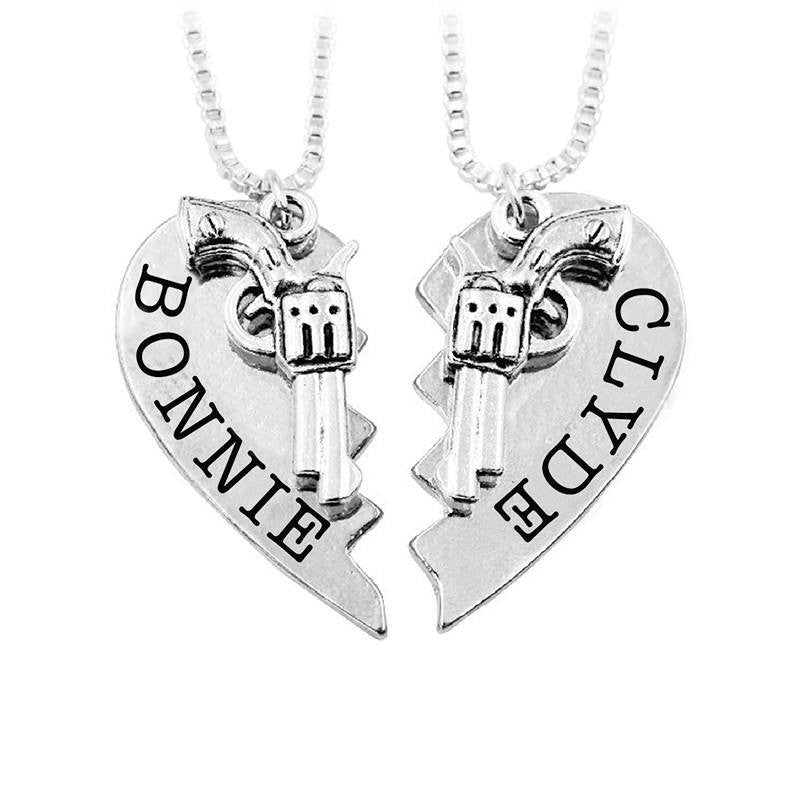 choker best half necklaces crime silver new fashion set nation heart alloy necklace vintage in charm products pride partner partners friends handcuf