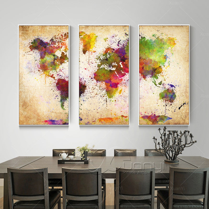 Abstract world map painting 3 piece canvas threads king gumiabroncs Images
