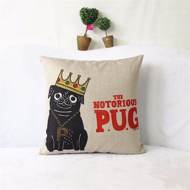 Creative Cartoon Pug Pillow Cover